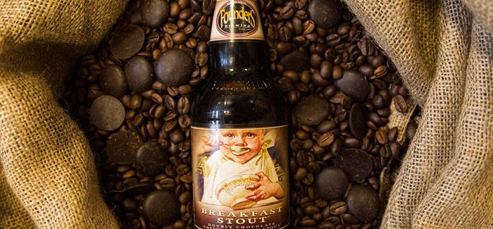 Breakfast Stout bottle on coffee beans