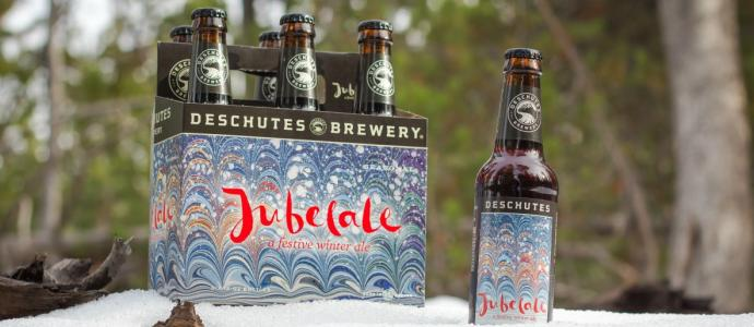 six pack of Deschutes Jubelale in snow