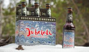 six pack of Deschutes Jubelale in snow